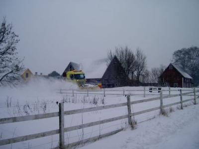 Januari: snön yr in över hagen